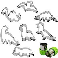 Dinosaur Cookie Cutter Set 7 Pcs - Stegosaurus/Dinosaur Baby/T-Rex/Leaellynasaura/Triceratops Mould, AFUNTA Stainless…