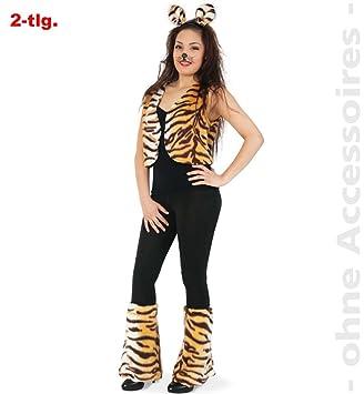Fries Damen Kostum Tiger Weste Stulpen Karneval Fasching Gr M