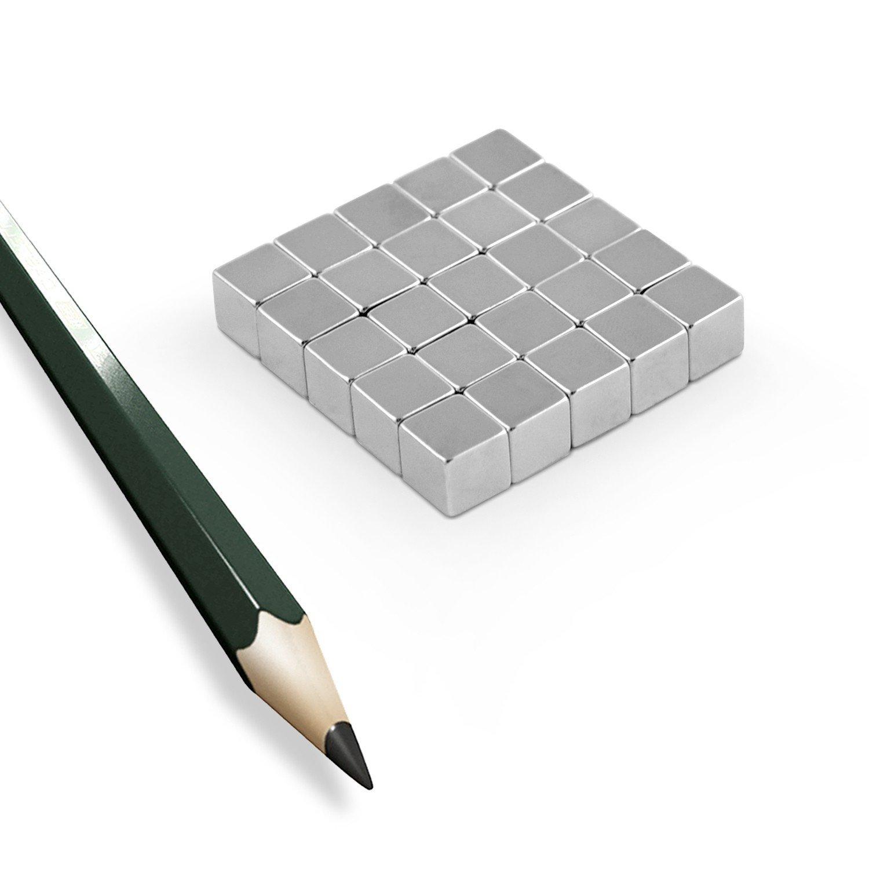 50 Stück Neodym Würfel Magnete 4x4x4mm N45 vernickelt