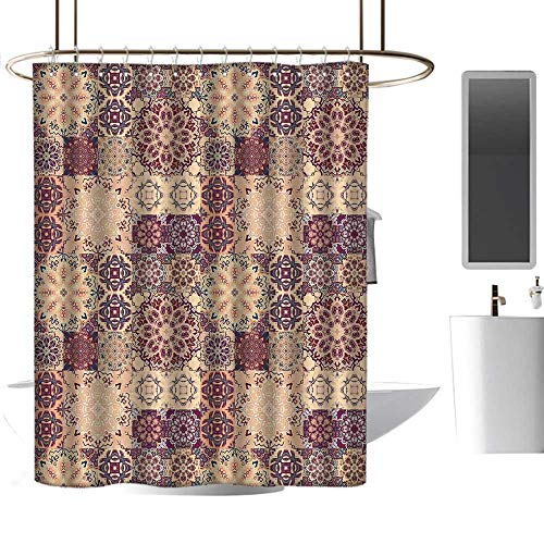 Waterproof Shower Curtain Moroccan,Grid Style Ornate Ceramic Style Tile Orient Vintage Inspirations,Maroon Pale Orange Dark Blue,Polyester Bathroom Shower Curtain Set with Hooks 54