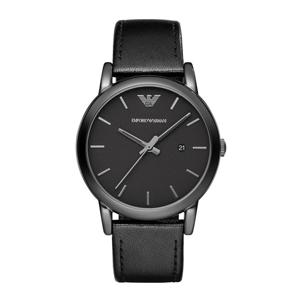 Emporio Armani AR1732 - Reloj (Reloj de Pulsera, Masculino, Acero Inoxidable, Negro, Cuero, Negro)