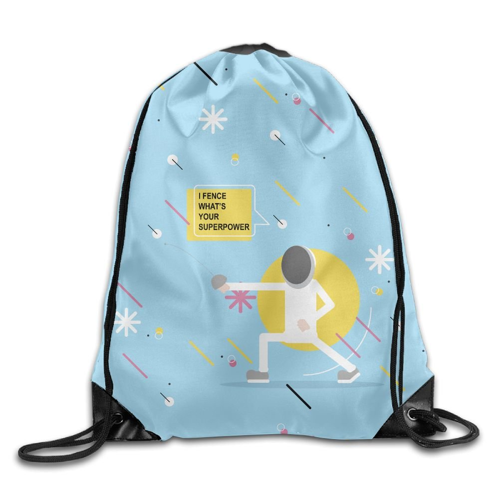 Fencing I Fence What's Your Super Power Nylon Drawstring Summer Bags For Kids
