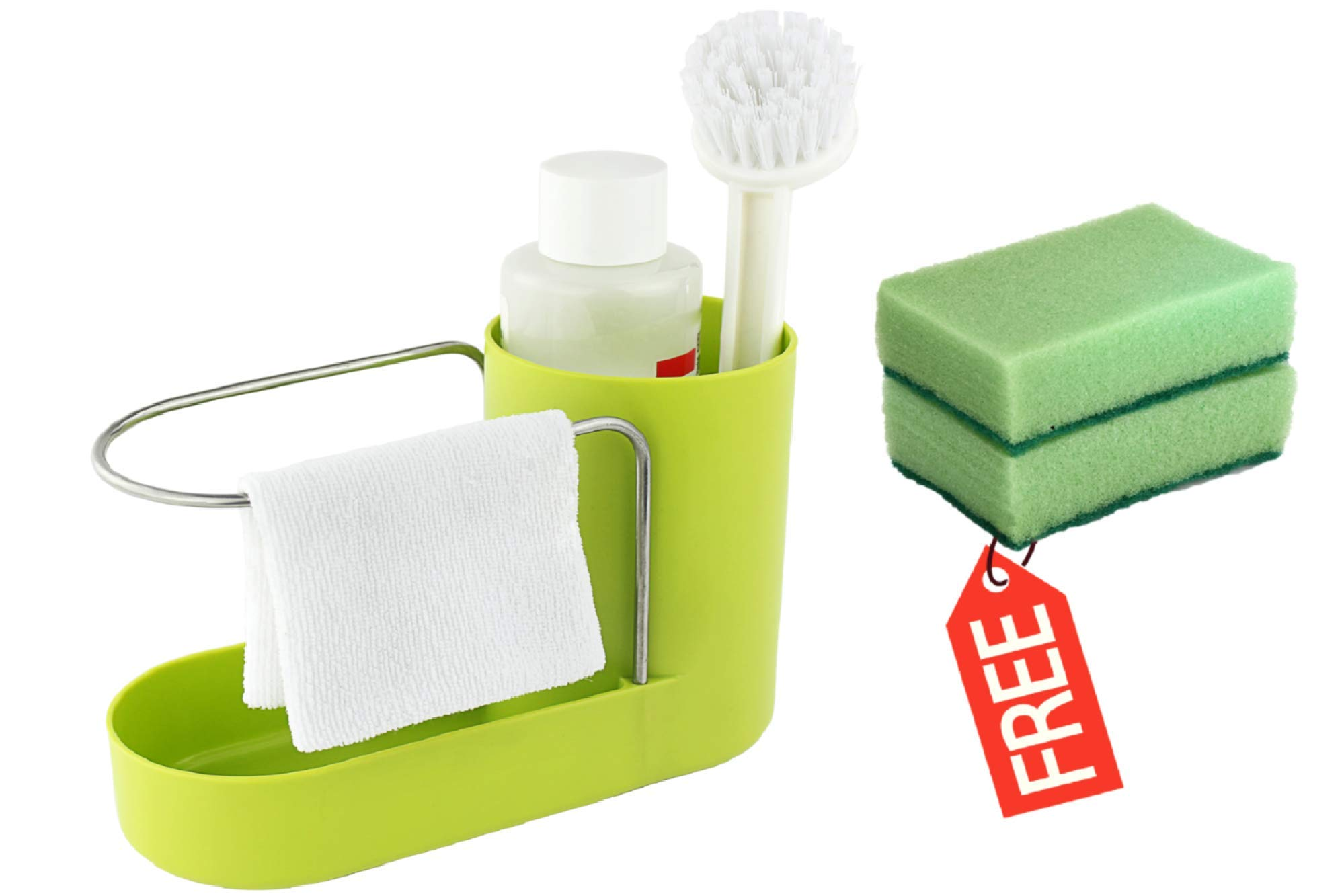 Convenient Kitchen Sink Organizer, Sink Caddy, Sinkware, Sponge Holder, Soap Dish, Brushes and Scrubbers Holder, Bathroom Caddy, Bathroom Organizer | 2 Top Quality Sponges FREE