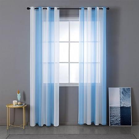 MIULEE Voile Vorhang Transparente Gardine aus Voile mit Ösen Schlaufenschal Ösenschals Transparent Fensterschal Wohnzimmer Sc