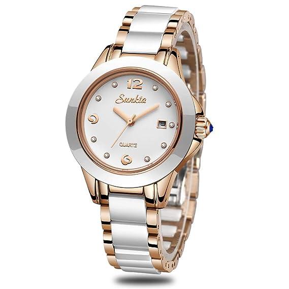 Mujer Moda Blanco Cuarzo analógico SUNKTA Relojes Acero Inoxidable Impermeable Reloj con Banda de Ceramica y Ventana de Fecha Señoras Reloj de Pulsera