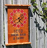 Dad's Stud Poker Room Clock with Real Casino Style Chips Inlayed into Wood