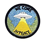 RABANA UFO WE COME IN PEACE Alien Flying Saucer rider Cartoon Kids Patch for DIY Applique Iron on Patch T shirt Patch Sew Iron on Embroidered Badge Sign Costume