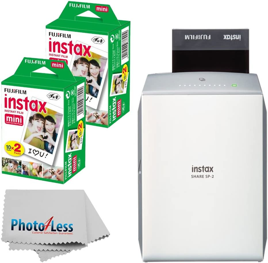 Fujifilm instax Share Smartphone Printer SP-2 (Silver) + Fujifilm Instax Mini Twin Pack Instant Film (40 Shots) + Photo4Less Cleaning Cloth + Filming ...