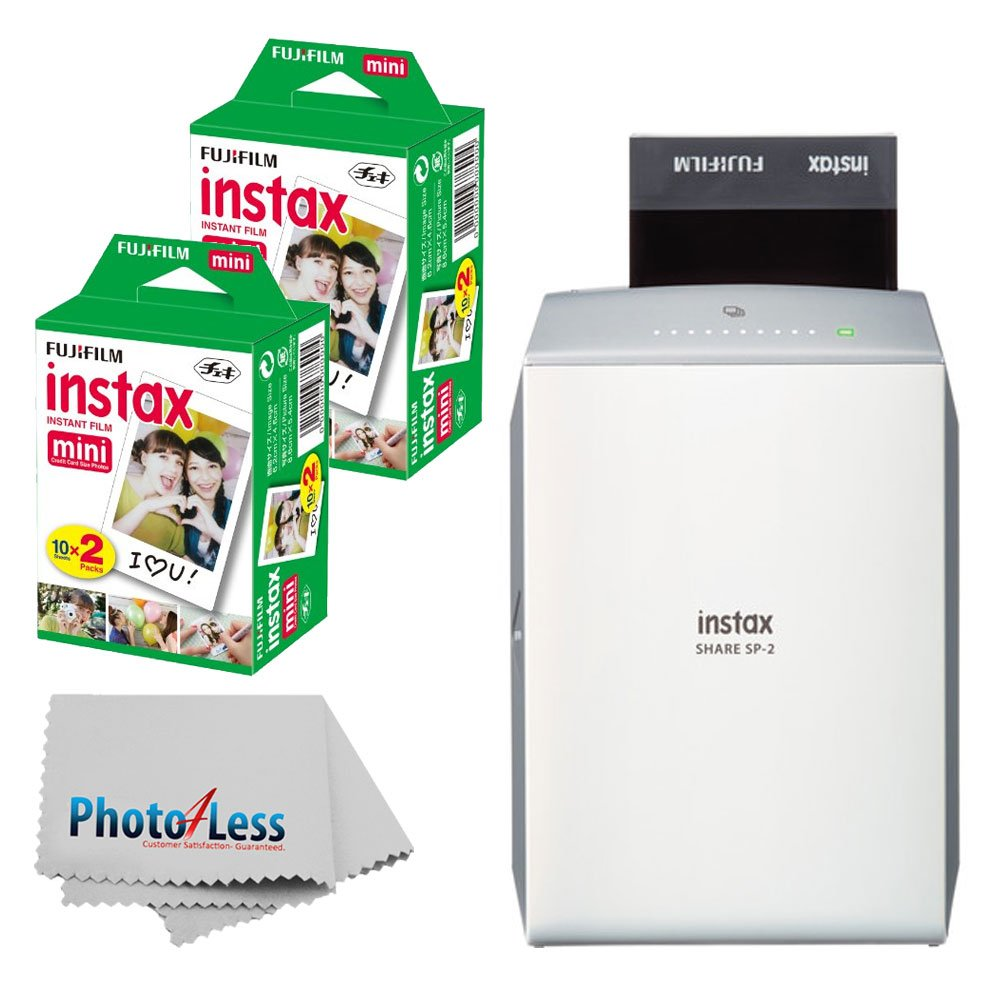 Fujifilm instax Share Smartphone Printer SP-2 (Silver) + Fujifilm Instax Mini Twin Pack Instant Film (40 Shots) + Photo4Less Cleaning Cloth + Filming Bundle by Fujifilm