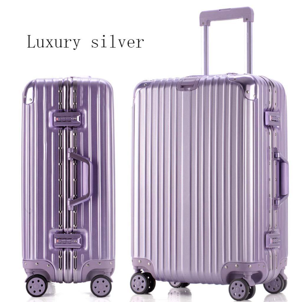 アルミフレームトロリーケーススーツケース24インチの荷物は、20インチの学生のパスワードボックスを搭乗 (Color : 紫の, Size : 28 inches)   B07R7MX43L