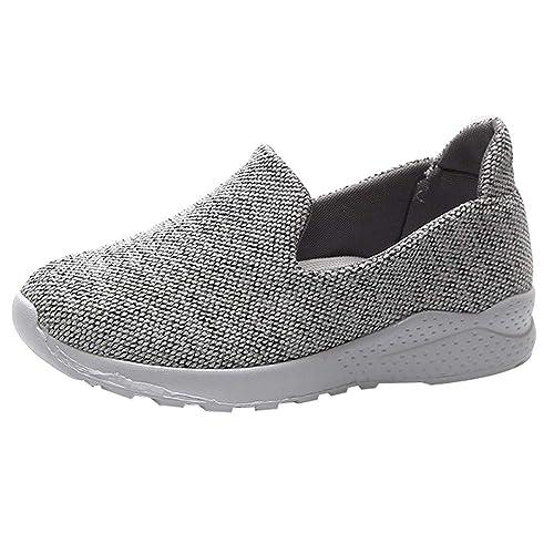 ... Mujer Otoño Invierno 2018 Moda Casual Zapatos cuña Plataforma Dama PAOLIAN Cómodo Calzado Náuticos Lona Gris Señora Zapatillas Aire Libre Talla Grande: ...