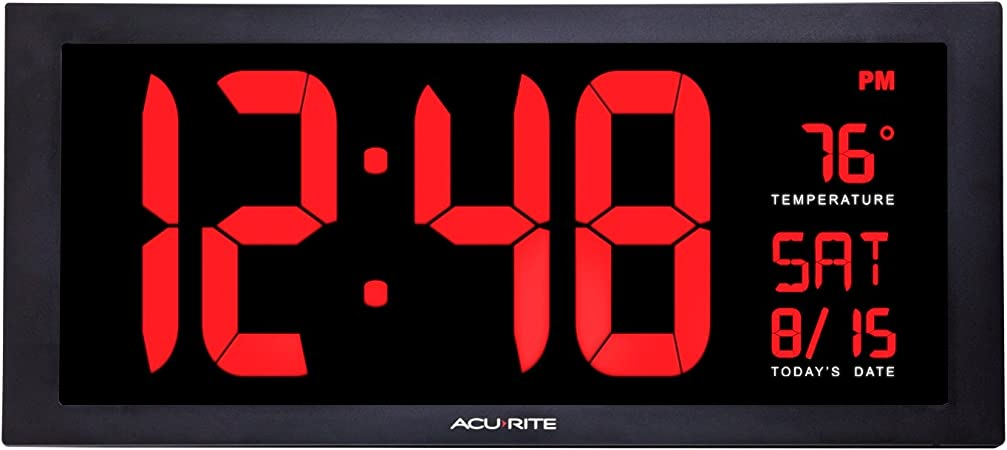 Acurite 75100 Large 18 Digital Led Wall Clock With Date Temperature And Fold Out Stand Inch Red Home Kitchen