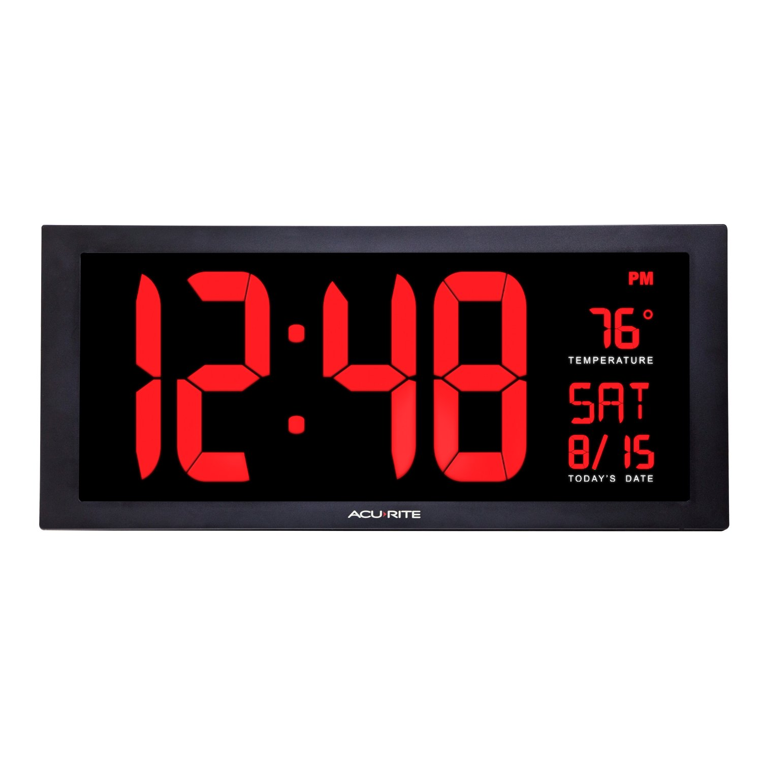 AcuRite 75100 Large Digital Clock with Indoor Temperature | LED Wall Clock with Date and Fold-Out Stand - 18''
