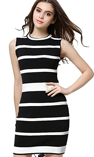 b87d31725d6ef Musen Fitted Black And White Stripes Sleeveless Knit Bodycon Dress ...