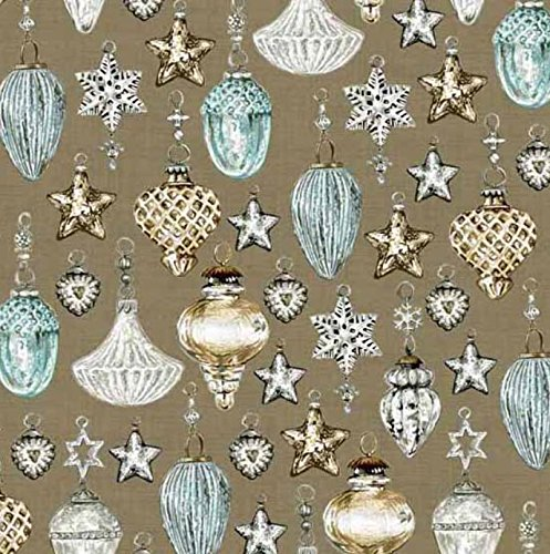 Andover-Makower 'Balmoral' Scottish Glass Christmas Ornaments on Brown Cotton Fabric 44-45 Inches Wide
