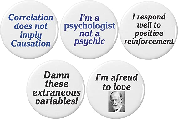 Set 5 Psychology Psychologist Freud Quotes Funny Humor Themed Buttons Pins