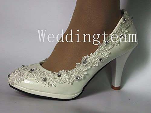 Sweet women white ivory pearl lace