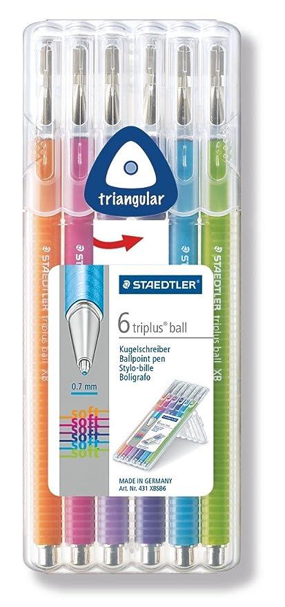 tratto F Penna a sfera con fusto triangolare ergonomico indelebile confezione con 4 colori vivaci Staedtler 437 FSB4 ST Triplus Ball 437 FSB4