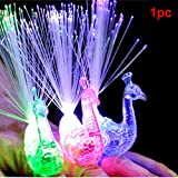 HOMYY 1pc Changing Multicolor LED Finger Light Ring Peacock Light-up Finger Ring For Party Festival Glowing Toys Kids Child Gifts(random color)