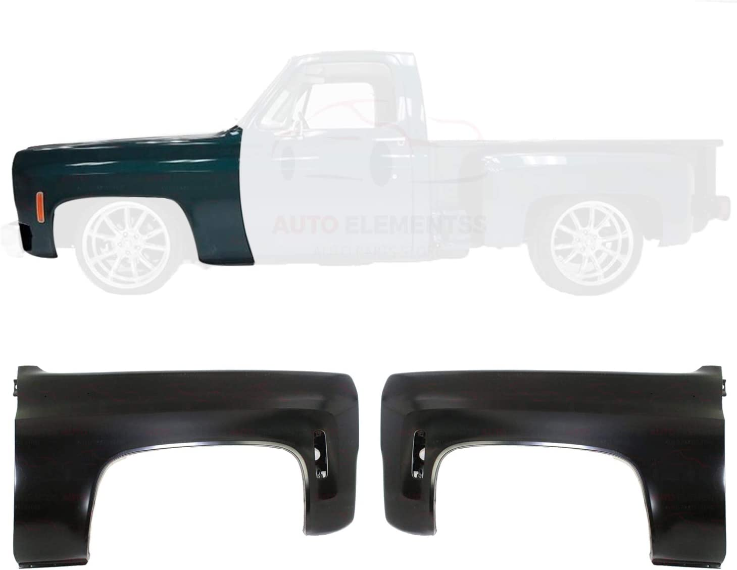 New Front Fenders Primed with Emblem Provision Turn Signal Light Hole for 1975-1980 Chevrolet C10 K10 Direct Replacement Steel