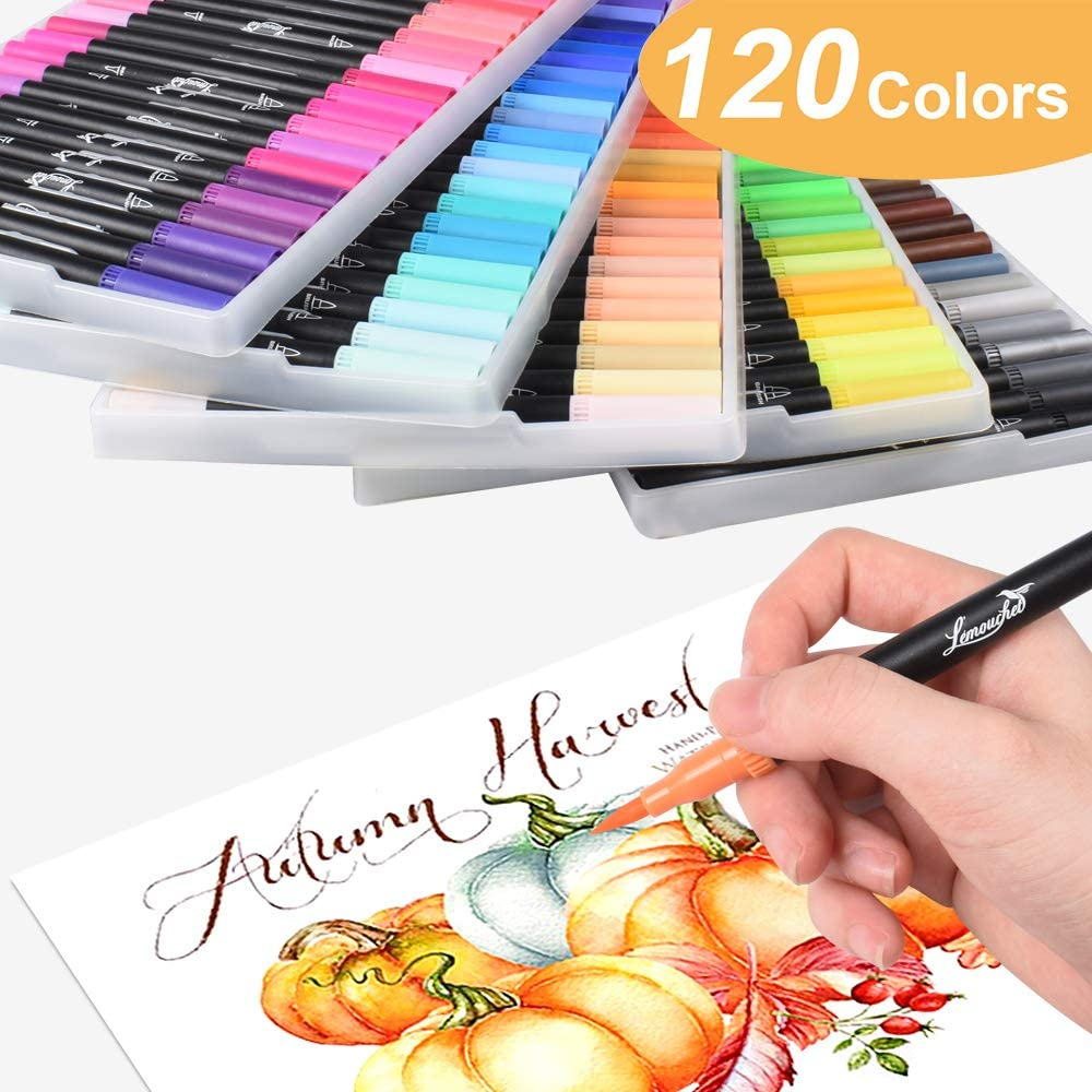0.4 Fine Tip Marker Pens and Watercolor Brush Highlighter Pen Set for Bullet Journal Adults Coloring Book Note Taking Writing Planning Art Project L/émouchet 120 Colors Dual Tip Brush Marker Pens
