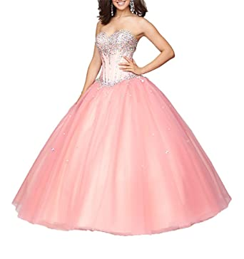 Dexin Womens Vestidos 15 Beading Ball Gown Sweet 16 Quinceanera Dress 2 US Coral
