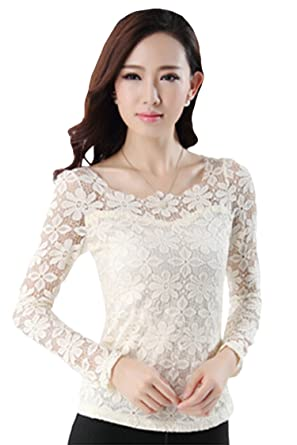 Pinkwind Womens Hollow Out Lace Crochet Long Sleeve Blouse Tops
