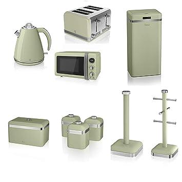 Swan Green Kitchen Appliance Retro Set 20 Litre Digital Microwave