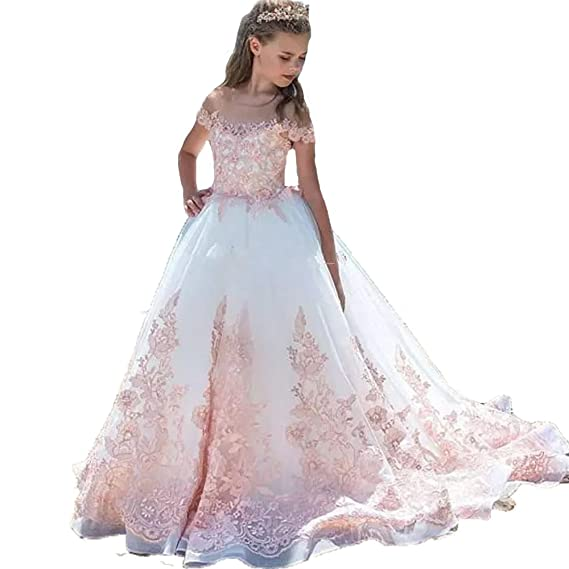 Auxico Rosa Applique di Pizzo Abiti da Ragazza di fiori Per Nozze Primo Vestito  da Comunione  Amazon.it  Abbigliamento 7f655d7b865
