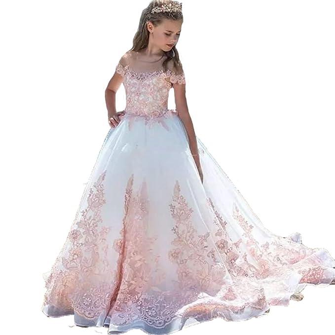 Auxico Rosa Applique di Pizzo Abiti da Ragazza di fiori Per Nozze Primo Vestito  da Comunione Amazon.it Abbigliamento