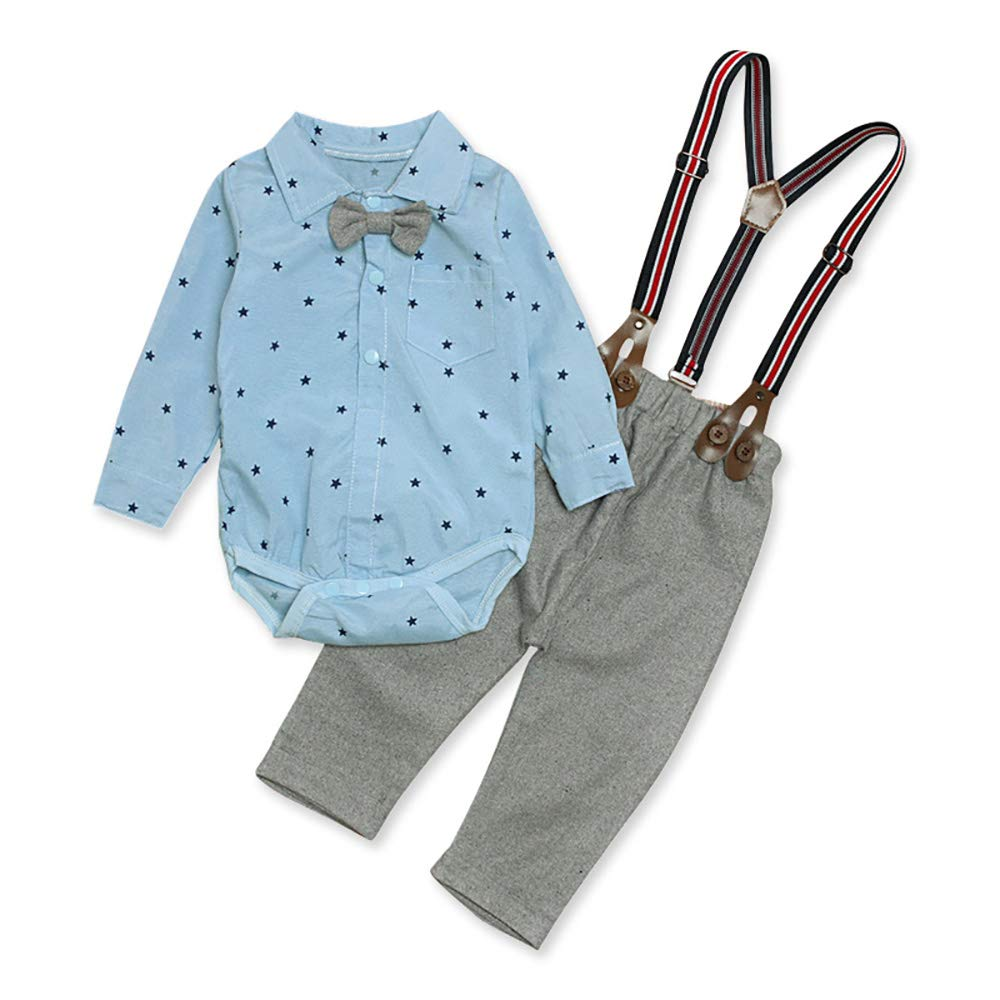 Long Sleeve Shirt Suspender Pants Set with Bowtie for Baby BY14CA 2 Pieces Infant Boys Outfits Set