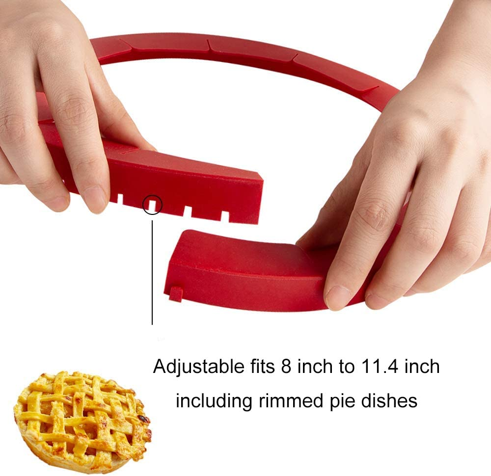 4 PCS Fit 8-11.4 Inch Pies Adjustable Pie Crust Shield Silicone Pie Protectors Adjustable Bake Crust Protector Pie Crust Protector Cover Kitchen Tool for Baking Pie Pizza