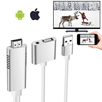 No APP Needed 1080P Digital AV Adapter Wonderful fate 2019 Latest Adapte Cable Sync Screen HDMI Connector with Charging Port for Select iPhone//iPad Models
