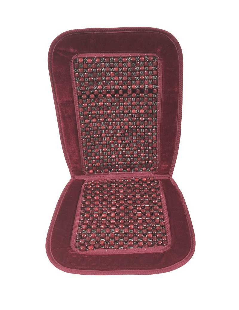 Red Reduces Fatigue One Set Car Wooden Bead Cushion Seat Velour Massage Beaded Cover Chair Home Office Comfort Cushion