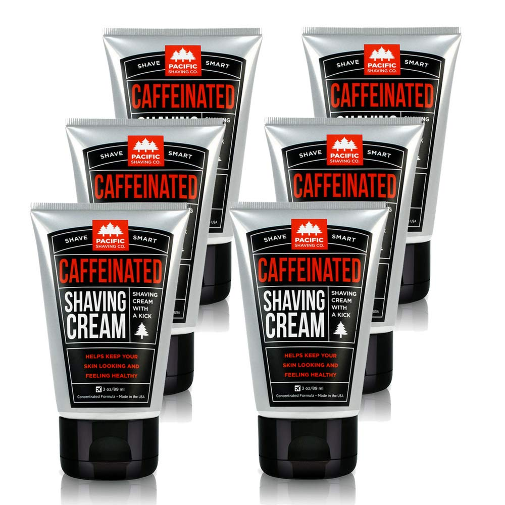 Pacific Shaving Company Caffeinated Shaving Cream - Helps Reduce Appearance of Redness, With Safe, Natural, and Plant-Derived Ingredients, Soothes Skin, Paraben Free, Made in USA, 3.4 oz (6-Pack) by Pacific Shaving Company