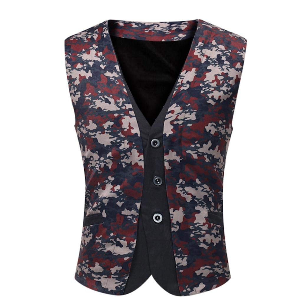 Men Casual Shirt Printed Tops Sleeveless Jacket Coat British Suit Vest Blouse by SanCanSn(Only one Vest)(H#Red,M)
