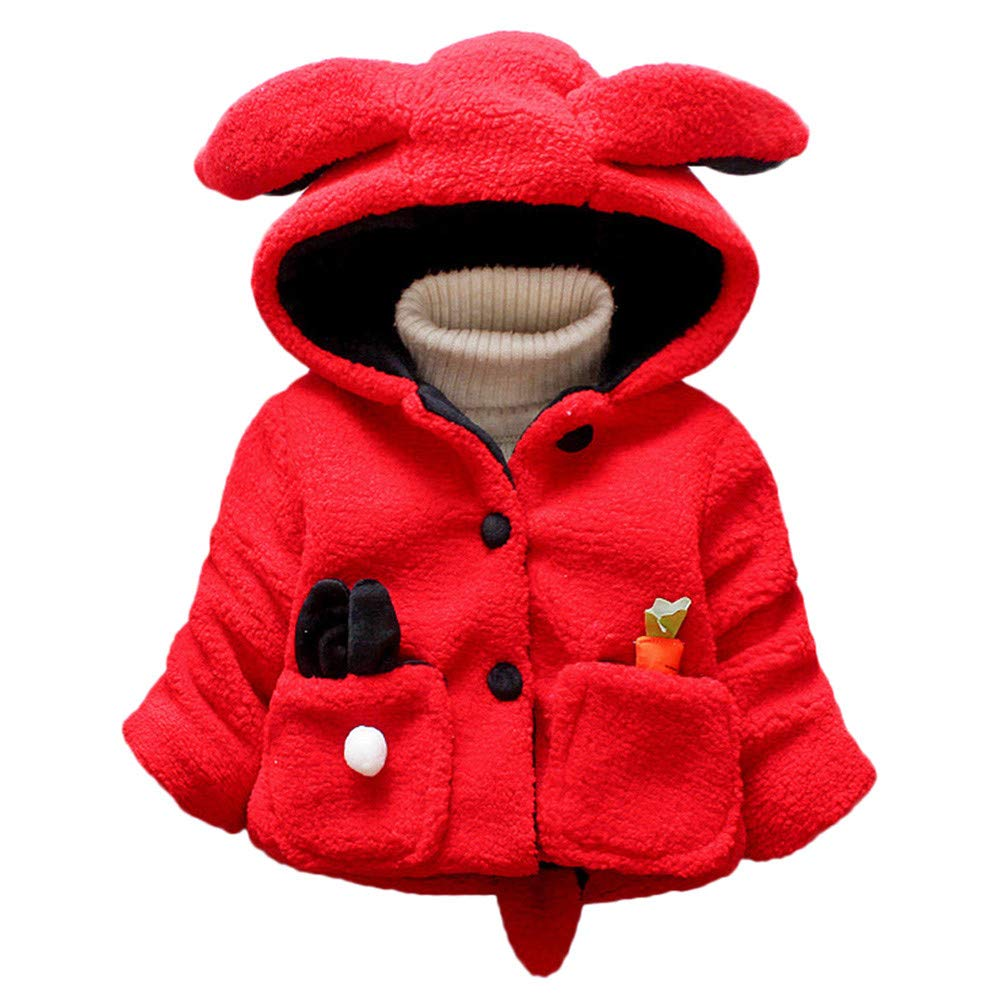 FIged Baby Outerwear, Children Winter Hoodie Thicken Ears Rabbits Warm Cute Coat