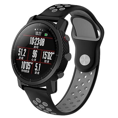 XIHAMA Correas inteligente para Xiaomi Amazfit Watch,22mm Pulsera de silicona de la aptitud del
