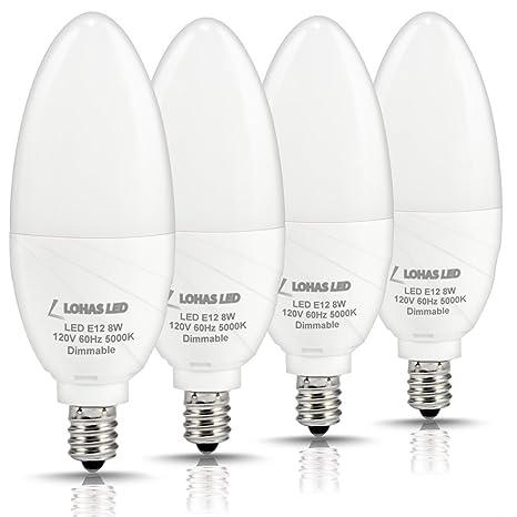 LOHAS Dimmable Candelabra Bulb LED, 5000K Daylight E12 Candelabra ...