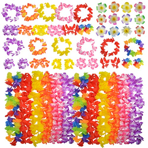 baotongle 60pcs Hawaiian Leis Set, Hawaiian Leis Hawaiian Headband Flowers Flowers Necklaces 12 Random Color Flower Hair Clips for Party Supplies, Hawaiian Luau Decorations, Summer Beach Vacation, Tropical themed Party ()