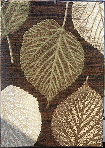 Beige Leaf Vine (Lifestyle Modern Tropical Area Rug Brown Green Beige Leaf Vine Design 699 (5 Feet 2 Inch X 7 Feet 3 Inch))
