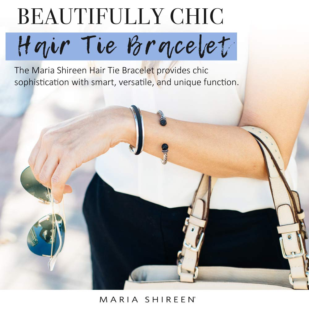Amazon.com  Maria Shireen  Classic Design Hair Tie Bracelet - Stainless  Steel Hair Tie Holder - Functional Fashion Accessory - Keeps Track of Hair  Ties ... 3ea658329ab