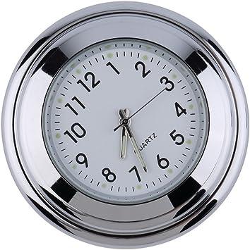 Catuo Lenkerarmatur Uhr Mit Rundem Zifferblatt Uhr Für Harley Davidson Suzuki Kawasaki Honda Yamaha Chrom Und Weiß Auto
