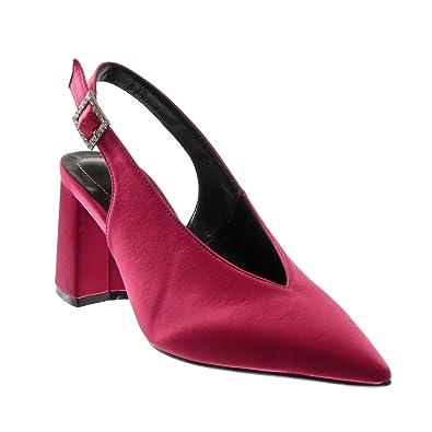 89fe9251428269 Angkorly - Chaussure Mode Escarpin Decolleté Ouverte arrière Femme Boucle  Strass Diamant Talon Haut Bloc 8.5