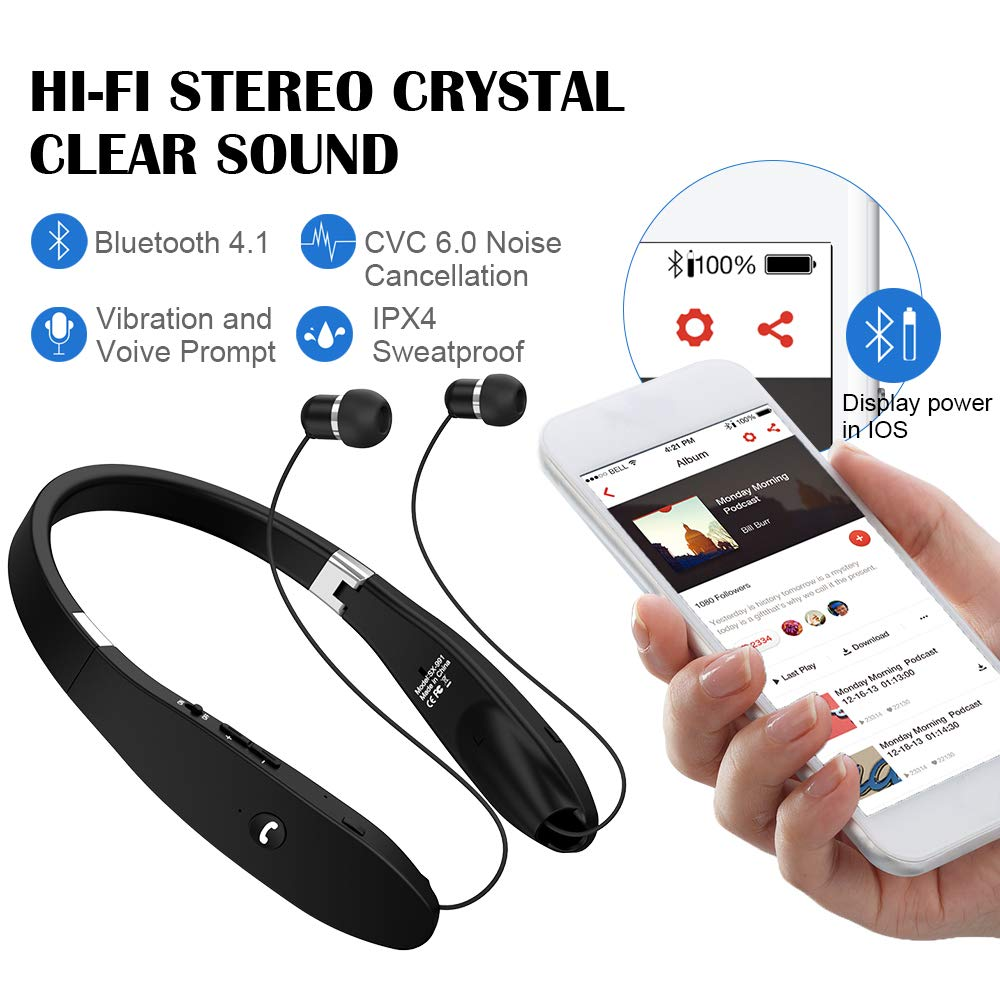 Bluetooth Headphones, Wireless Bluetooth Headset, Wireless Foldable Retractable Headset with Neckband Design Compatible for X 8 7 Plus S9 Note 8 Black