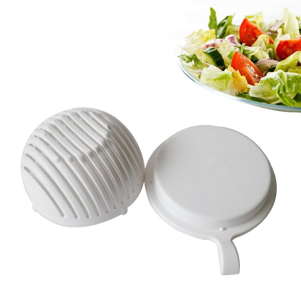 Salad Cutter Bowl, HapWay Food Grade ABS Salad Maker, 60 Second Fresh Vegetables and Fruits Slicer Chopper Bowl for One Person