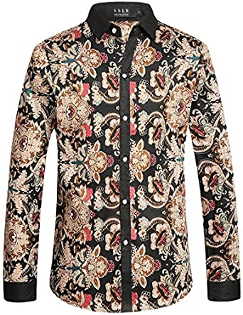 SSLR Men's Vintage Printed Button Down Casual Long Sleeve Shirt ...