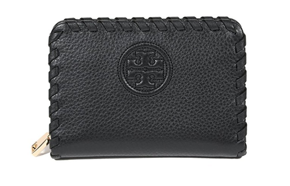 Tory Burch Marion Leather Zip Coin Case (Black) by Tory Burch