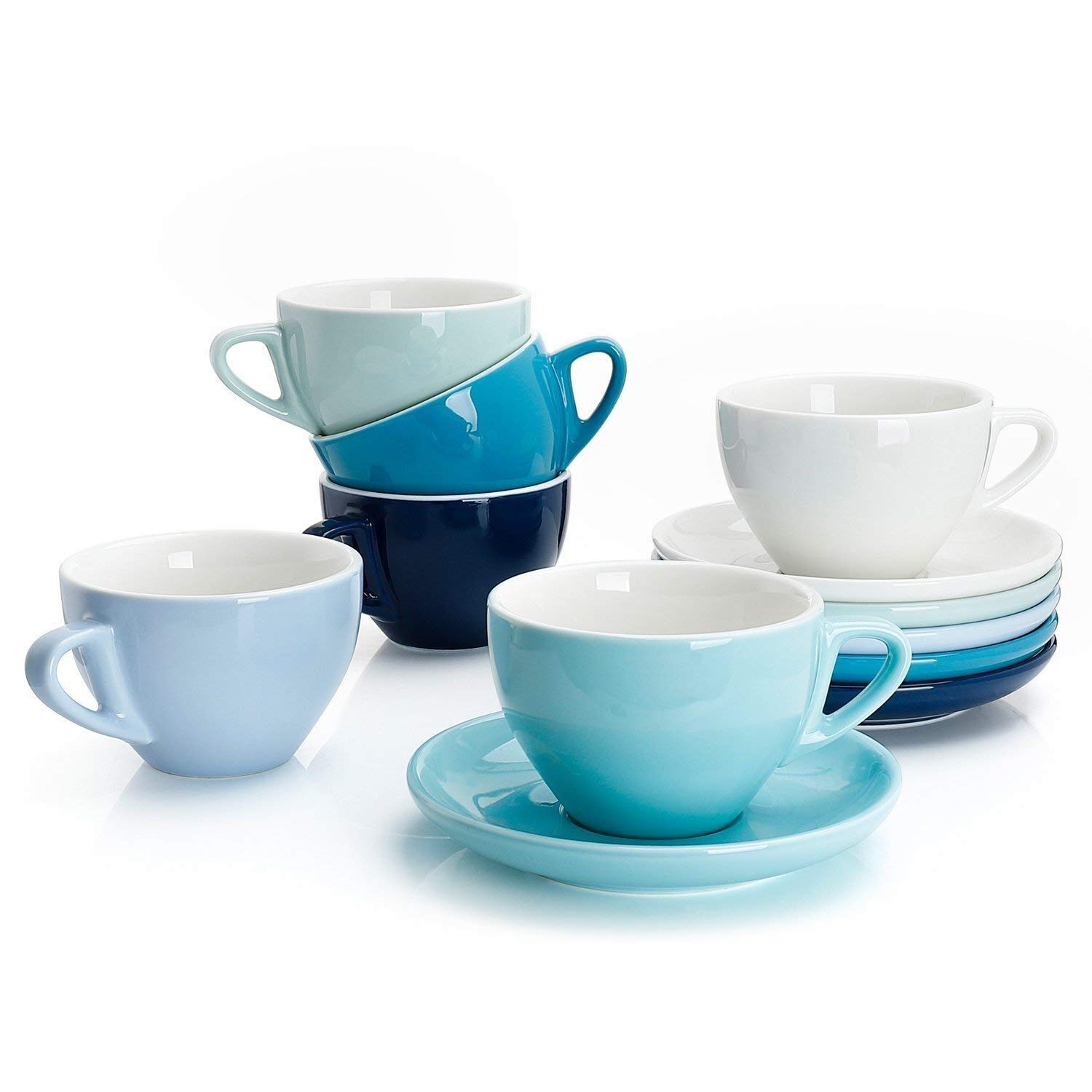 Sweese 4309 Porcelain Cappuccino Cups with Saucers - 6 Ounce for Specialty Coffee Drinks, Latte, Cafe Mocha and Tea - Set of 6, Cold Assorted colors