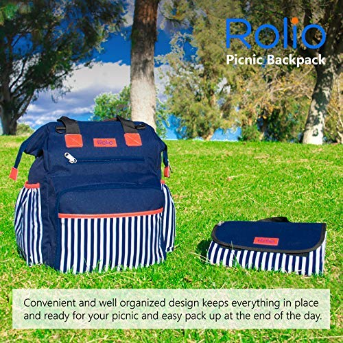 Rolio Picnic Backpack for 4 Person, Insulated Cooler Compartment, 2 Bottle Holders, Complete Stainless Steel Cutlery Set, 9'' Plastic Plates, Cutting Board, Waterproof Blanket